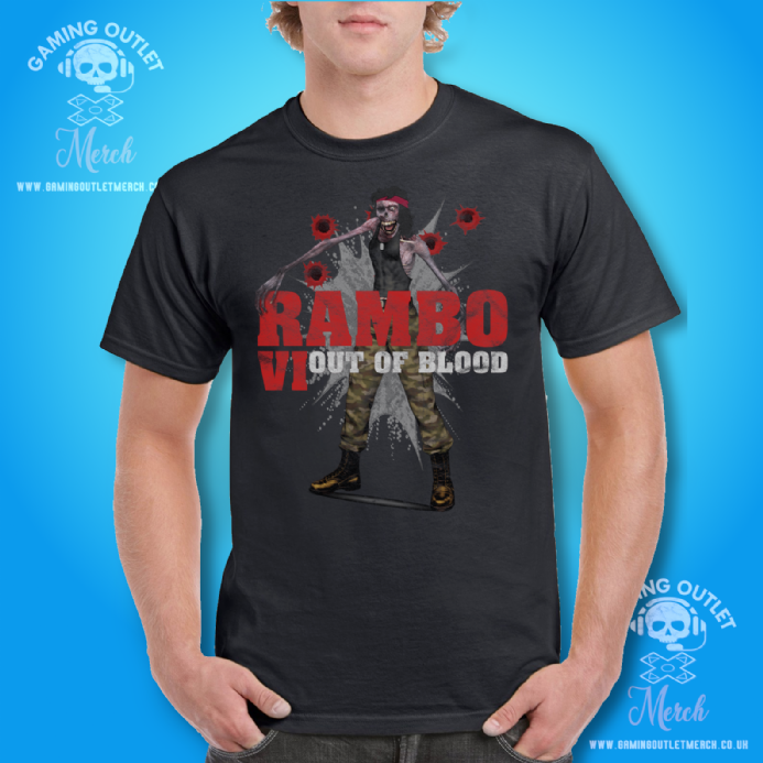 Rambo VI Out of Blood Movie Parody: Mens Black T Shirt